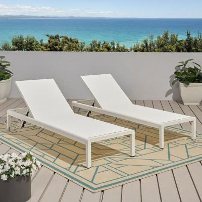 Cape Coral White 2-Piece Aluminum Outdoor Chaise Lounge