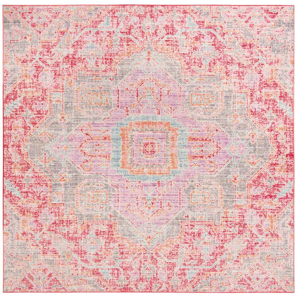 Windsor Rose/Seafoam 6 ft. x 6 ft. Square Area Rug