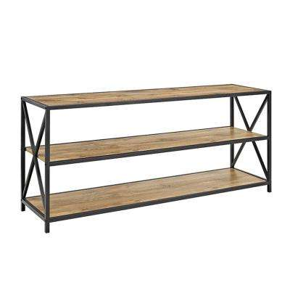 X-Frame Barnwood Metal and Wood Wide Media Bookshelf