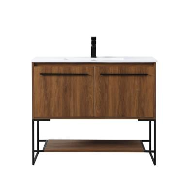 Timeless Home 40 in. W x 18.31 in. D x 33.46 in. H Single Bathroom Vanity in Walnut Brown with Porcelain and White Basin