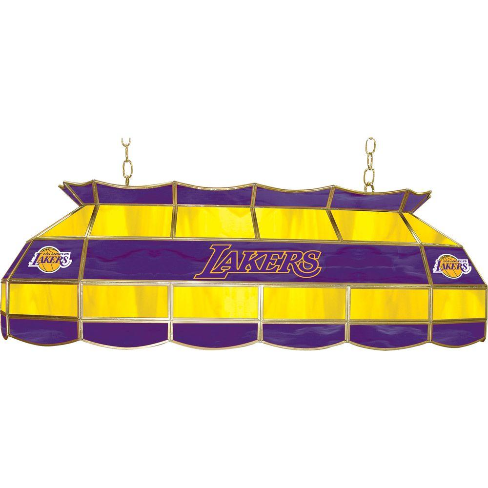 NBA Los Angeles Lakers NBA 3-Light Stained Glass Hanging Tiffany Lamp
