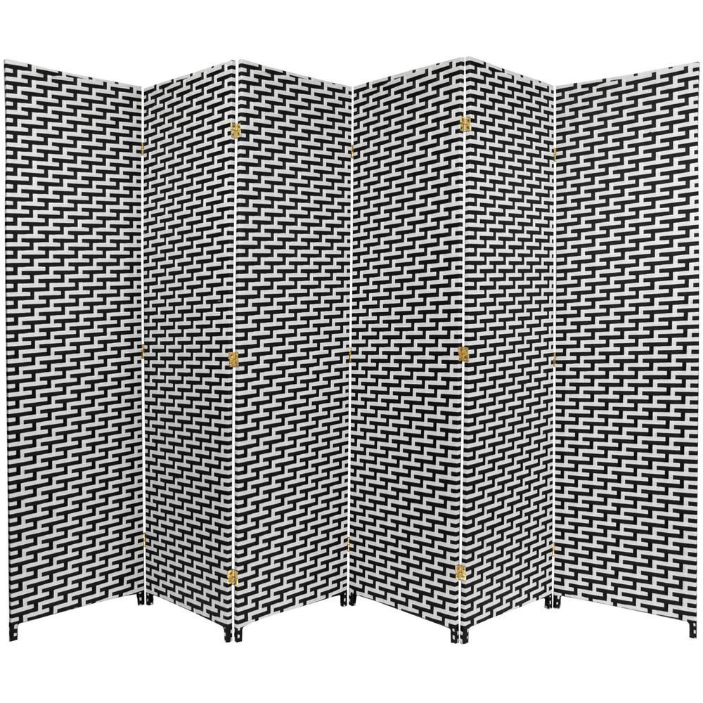 6 ft. Black and White Woven Fiber 6-Panel Room Divider