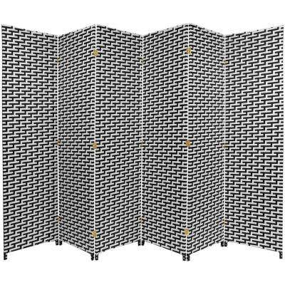 6 ft. Black and White Woven Fiber 6-Panel Room Divider