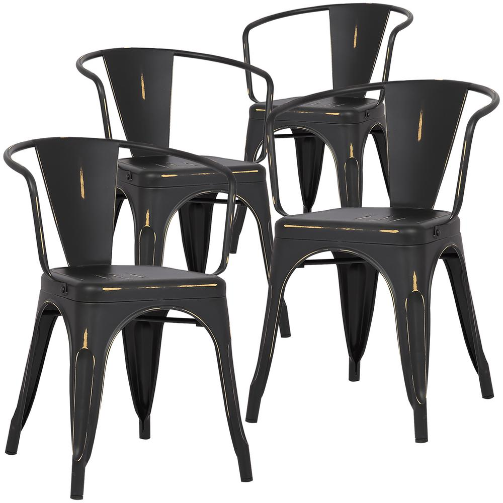 Poly and bark cantina distressed black arm chair set of 4 hd 113 dis blk x4 the home depot