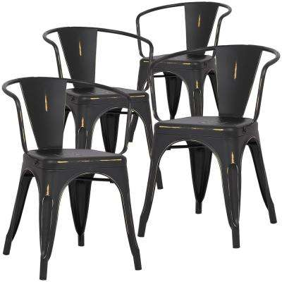 Cantina Distressed Black Arm Chair Set Of 4