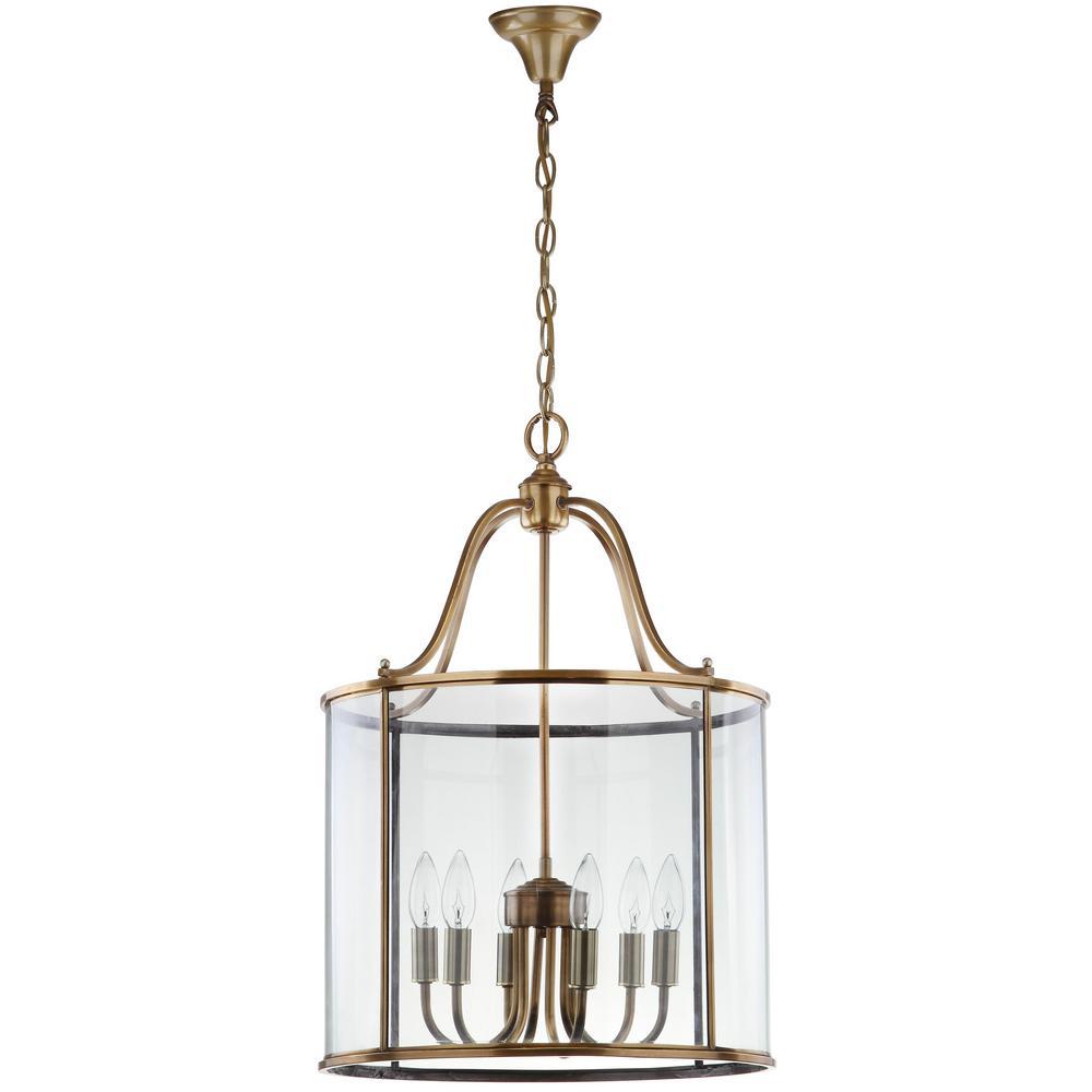 Safavieh Sutton Place 6-Light Brass Large Pendant