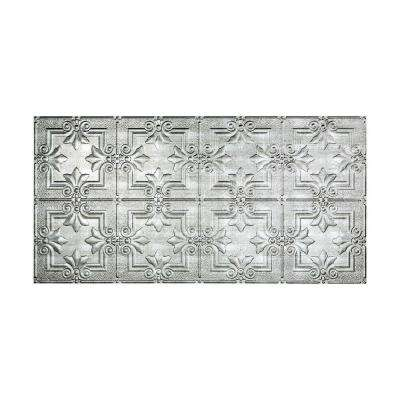 Regalia 2 ft. x 4 ft. Glue-up Ceiling Tile in Crosshatch Silver