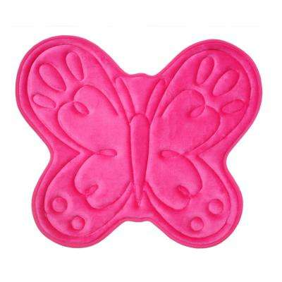 25 in. x 21 in. Polyester and Memory Foam Bath Mat in Fuschia Butterfly
