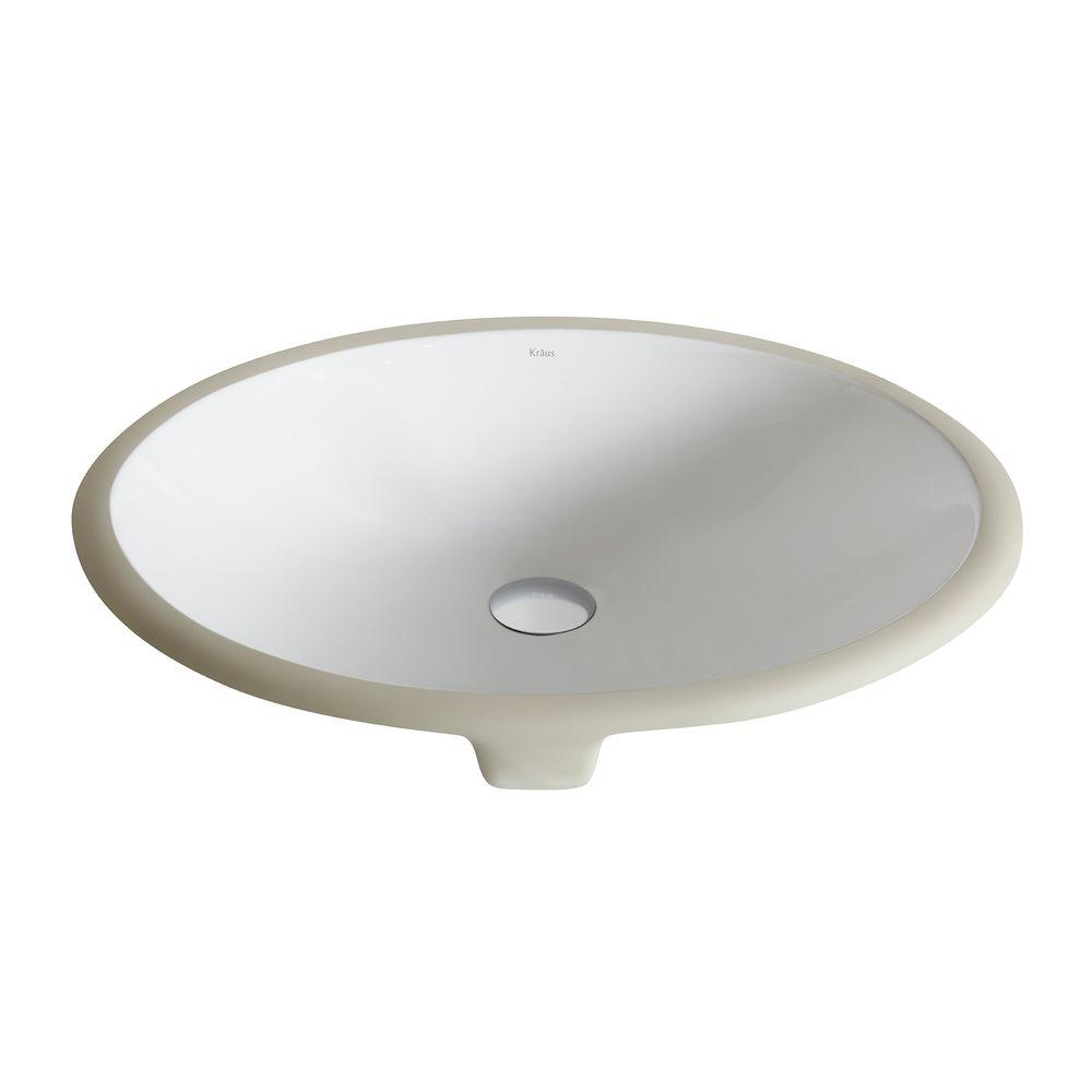 Good KRAUS Elavo Small Oval Ceramic Undermount Bathroom Sink In White With  Overflow