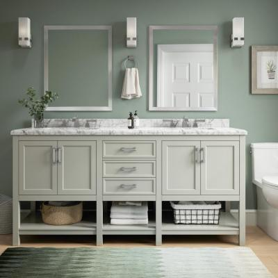 Everett 72 in. W x 22 in. D Vanity Cabinet in Grey with Carrara Marble Vanity Top in White with White Basins