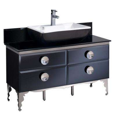 Moselle 47 in. Bath Vanity in Black with Tempered Glass Vanity Top in Black With White Basin