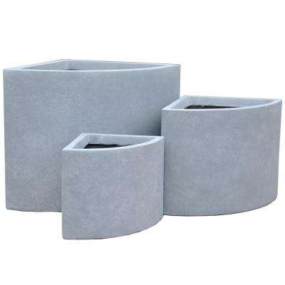Lightweight Concrete Short Corner Cement Planter (Set of 3)