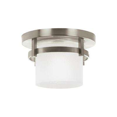 Eternity Brushed Nickel 1-Light Outdoor Flush Mount with LED Bulb