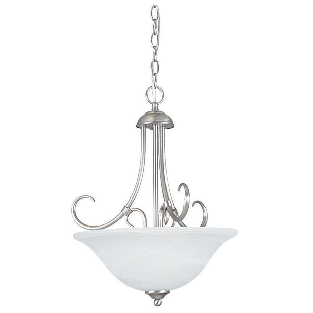 3-Light Satin Nickel Bowl Pendant
