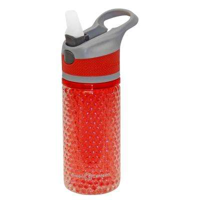 12 oz. Gray and Red Double Wall Plastic Tritan Hydration Bottle with Beaded Freeze Gel (6-Pack)