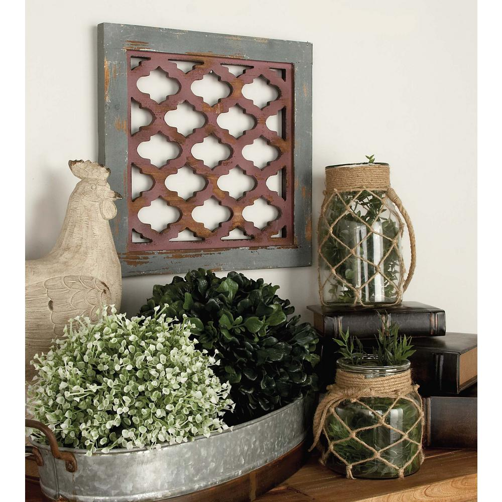 16 In X 16 In Classic Wooden Wall Panel With Lattice Cutout In
