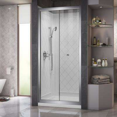 Butterfly 32 in. x 32 in. x 76.75 in. Semi-Frameless Sliding Shower Door in Chrome with Center Drain Base and Backwalls