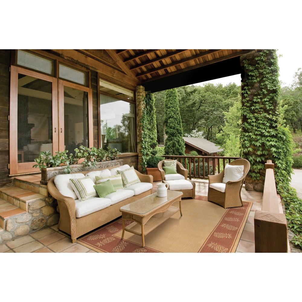 Recife Tropics Natural-Terracotta 8 ft. x 8 ft. Square Indoor/Outdoor Area Rug
