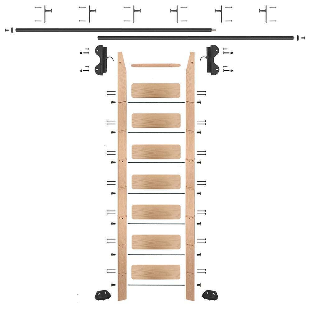 8 ft. Red Oak Library Ladder (9 ft. Reach) Black Hook Hardware 12 ft. Rail and Vertical Brackets