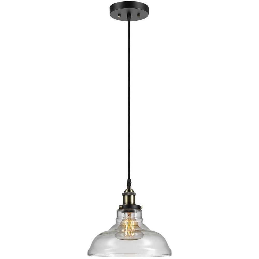 Globe Electric Mercer 1-Light Chrome and Black Vintage Industrial Hanging Pendan