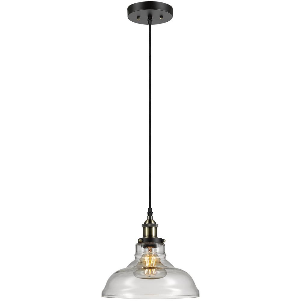 Globe Electric Latiya 1 Light Antique Br And Bronze Hanging Pendant