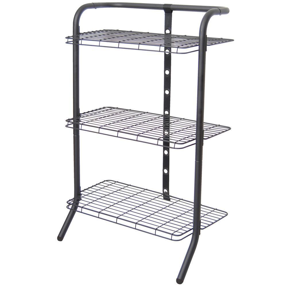 The Art of Storage 33 in. 3-Tier Black Adjustable Gravity Shelf