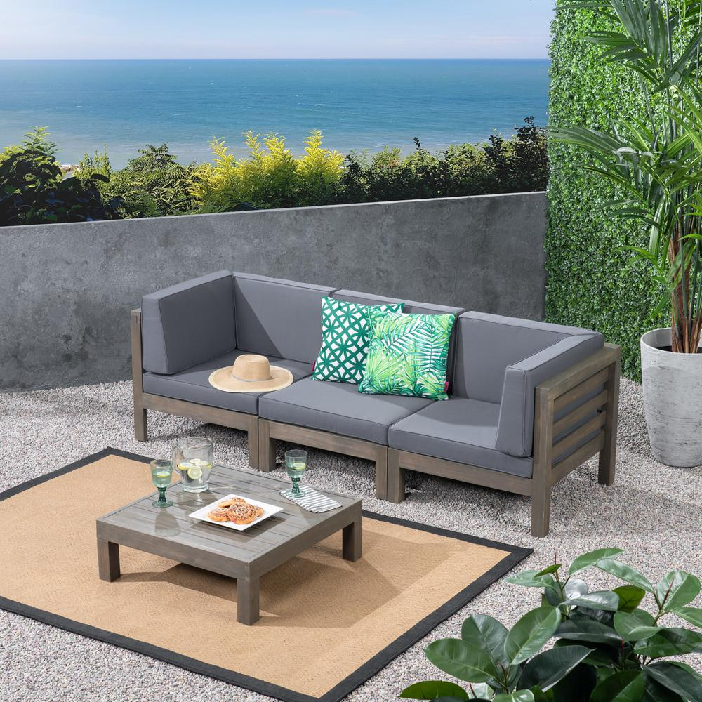Noble House Jonah Gray 2-Piece Wood Patio Deep Seating Set with Dark Gray  Cushions - 3 Seater Sofa, Coffee Table