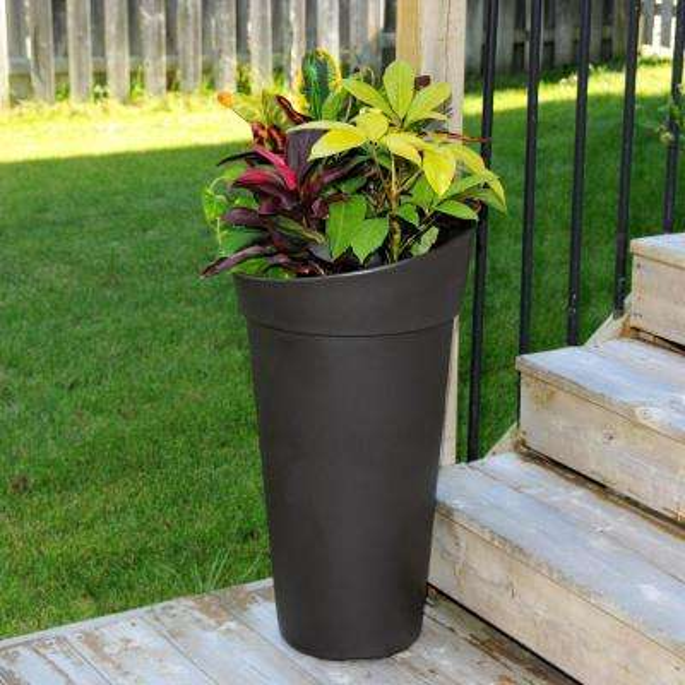 Creston Espresso Polyethylene Tall Planter