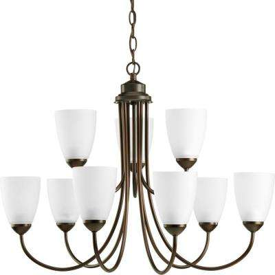 Gather 9-Light Antique Bronze Chandelier with Etched Glass Shade