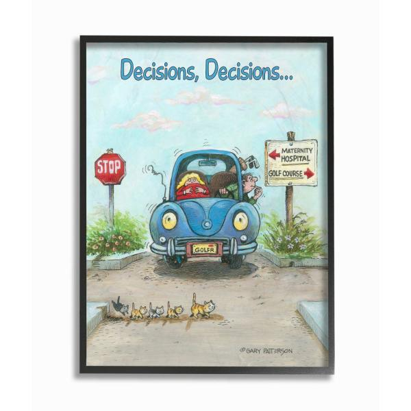 Stupell Industries Decisions Funny Family Golf Cartoon By Gary Patterson Framed Sports Wall Art 30 In X 24 In Fda 167 Fr 24x30 The Home Depot
