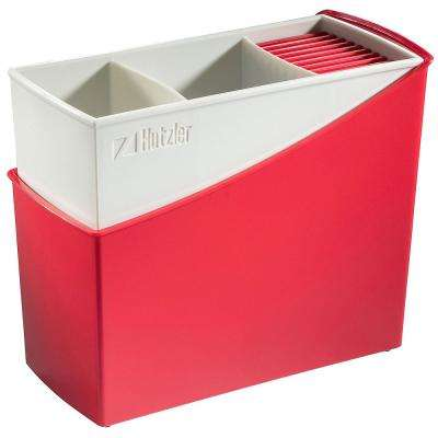 Cutlery Drainer / Flatware Caddy with Knife Slots in Red