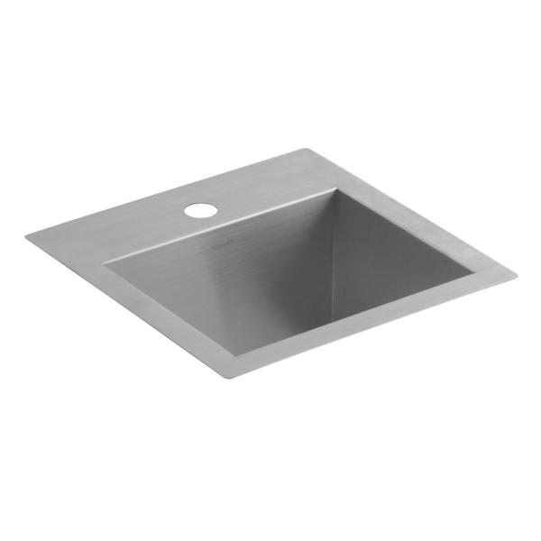 Lyric Dual Mount Stainless Steel 15 in. 1-Hole Single Bowl Bar Sink