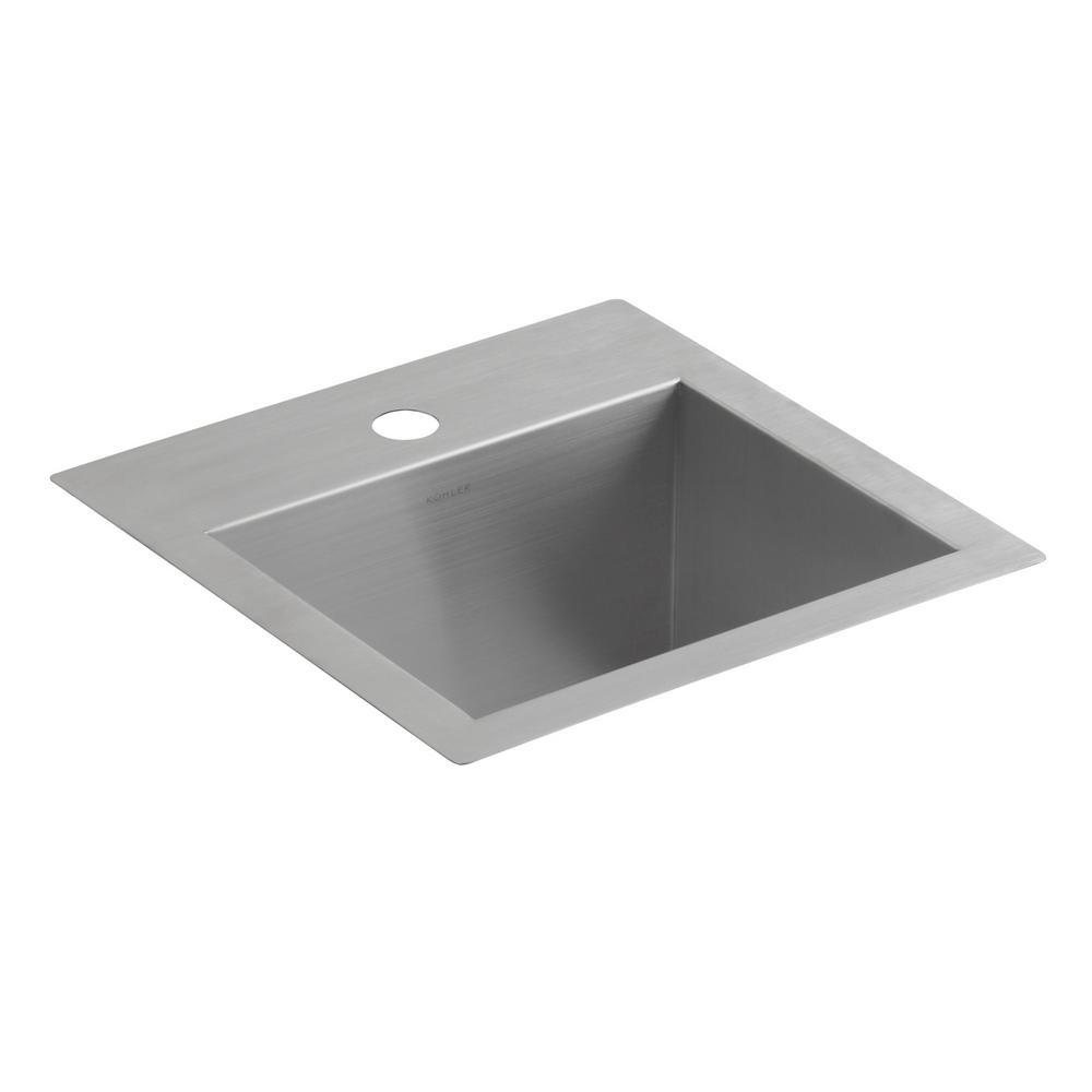 KOHLER Lyric Dual Mount Stainless Steel 15 In. 1 Hole Single Bowl Bar Sink