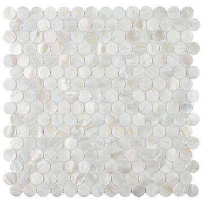 Conchella Mini Penny White 11-1/2 in. x 11-5/8 in. x 2 mm Natural Seashell Mosaic Tile