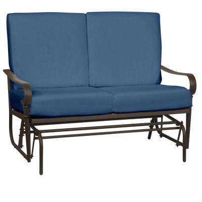 Oak Cliff Brown Steel Outdoor Patio Glider with CushionGuard Sky Blue Cushions