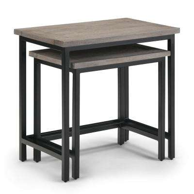 Glenna Solid Mango Wood and Metal 25 inch Wide Rectangle Industrial 2 Pc Nesting Side Table in Birch, Fully Assembled