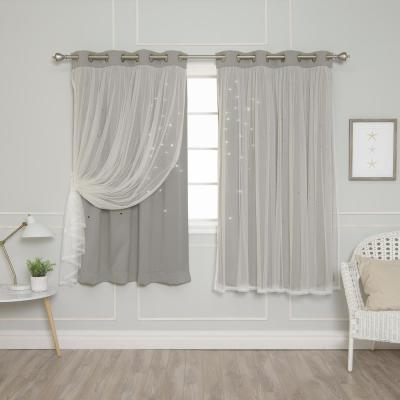 63 in. L Dove Tulle Overlay Star Cut Out Blackout Curtain Panel (2-Pack)