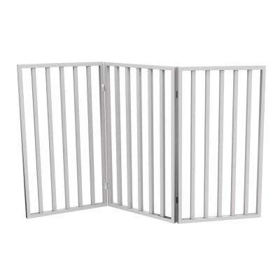 54 in. x 32 in. Wooden Freestanding White Pet Gate