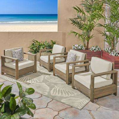 Devon Brushed Grey Wood Outdoor Lounge Chairs with Light Beige Cushions (4-Pack)
