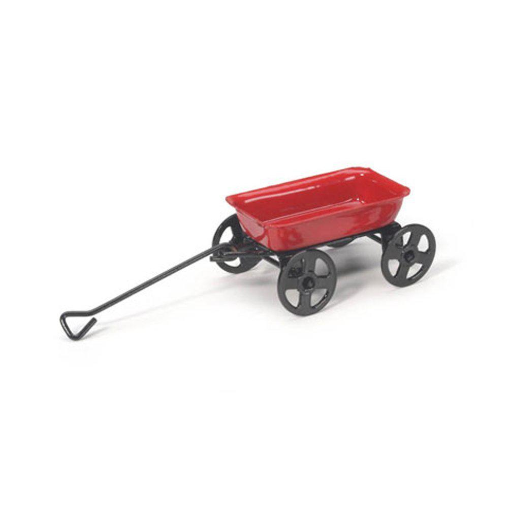 G & F Products MiniGardenn 10023 Fairy Garden Miniature Little Wagon Red