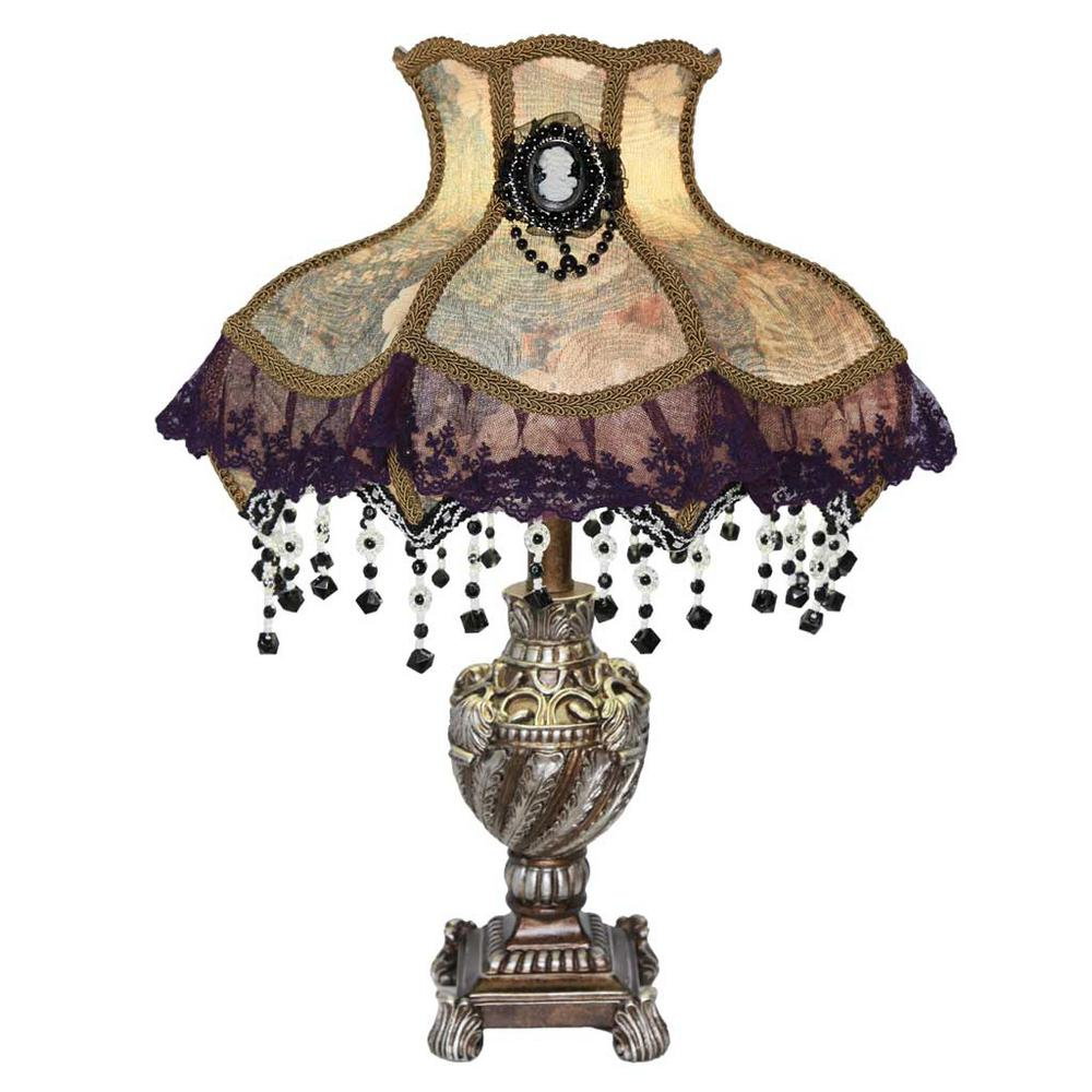 22 in. Cream Indoor Table Lamp with Victorian Style Laced Jewel Shade