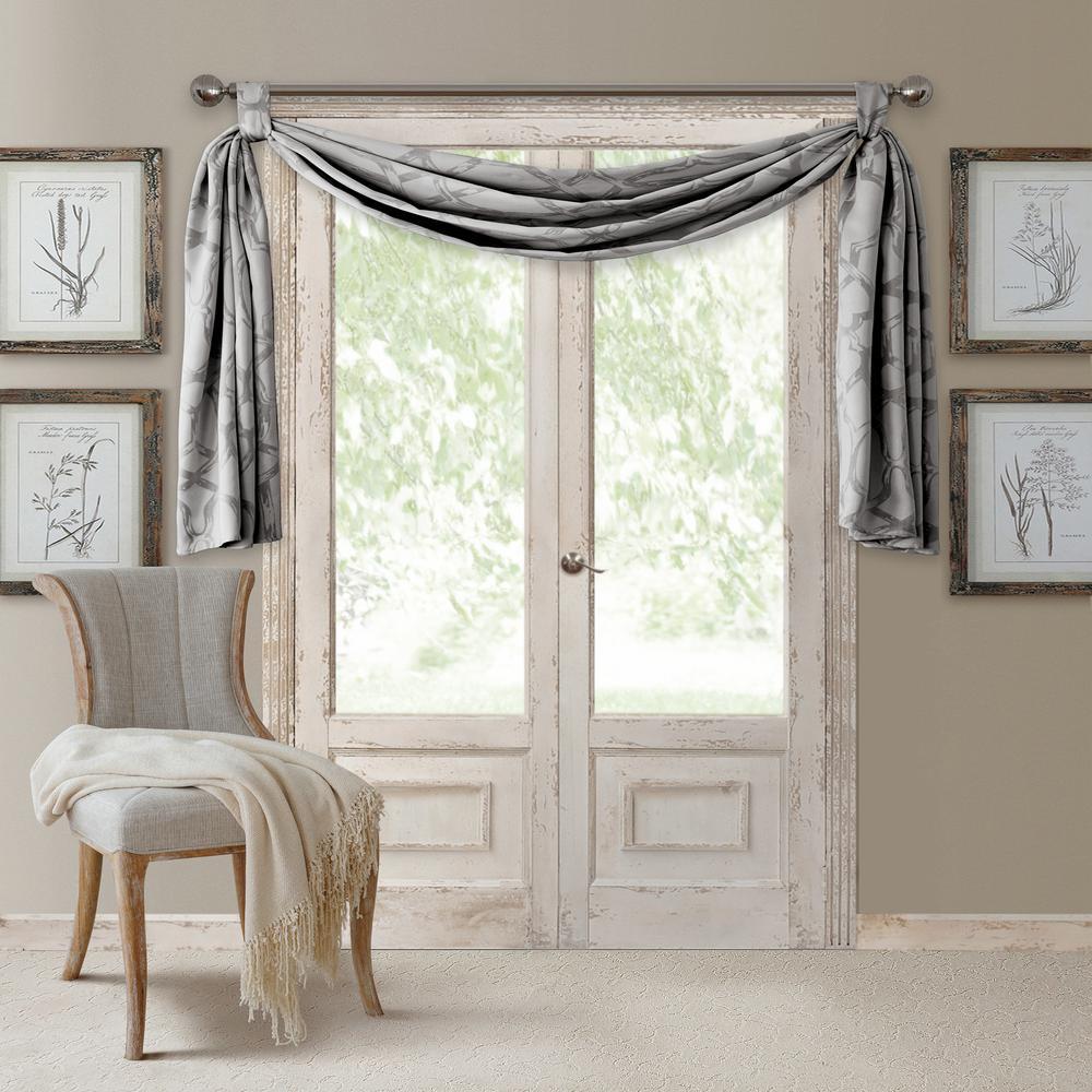 Darla 144 in. W x 52 in. L Polyester Single Blackout Window Valance in Light Gray