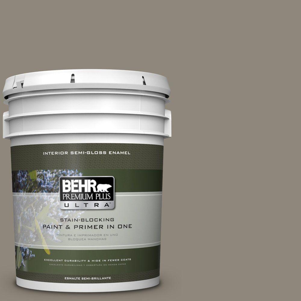 5 gal. #T16-08 Fifth Olive-Nue Semi-Gloss Enamel Interior Paint