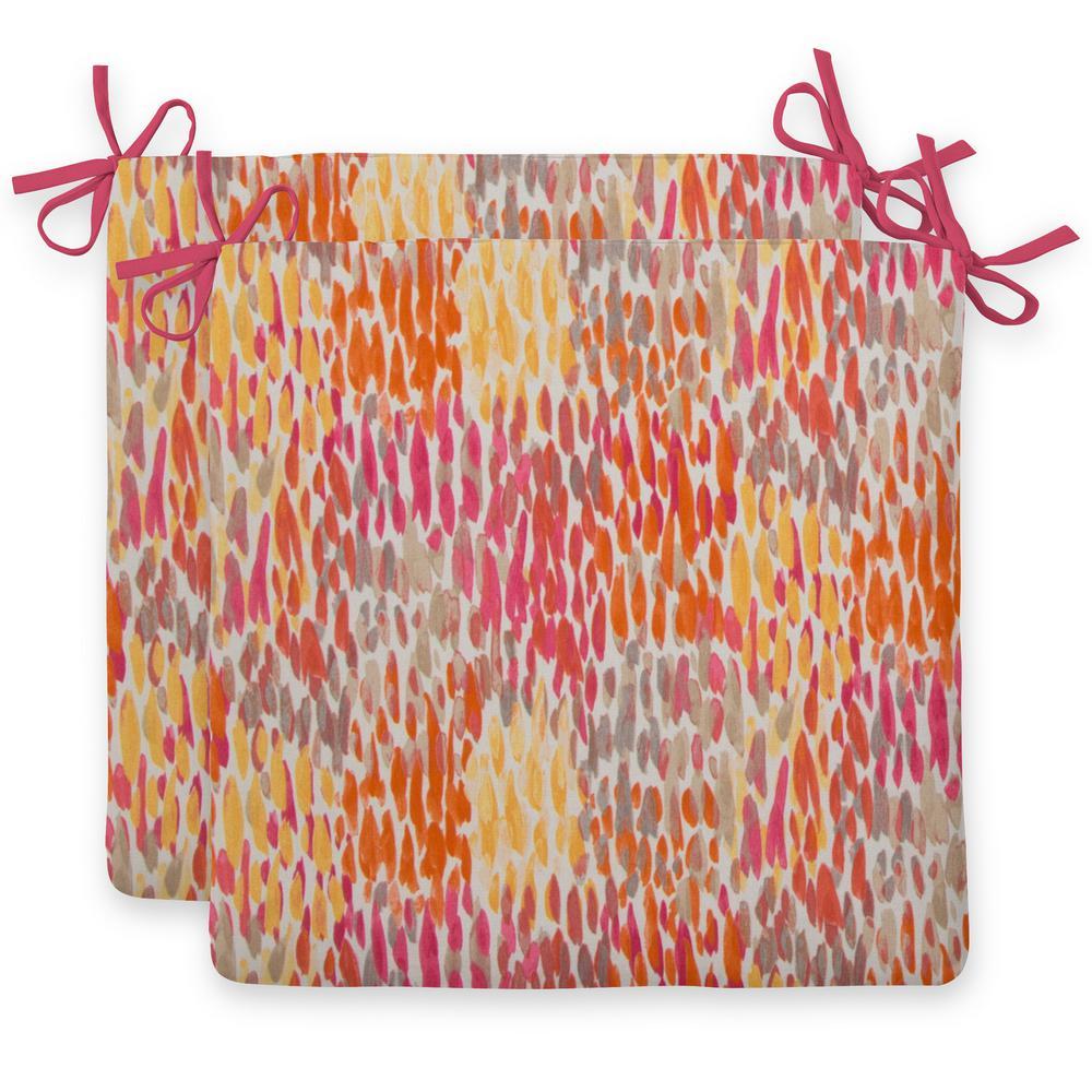 Starstruck Orange Square Outdoor Seat Cushion (2-Pack)