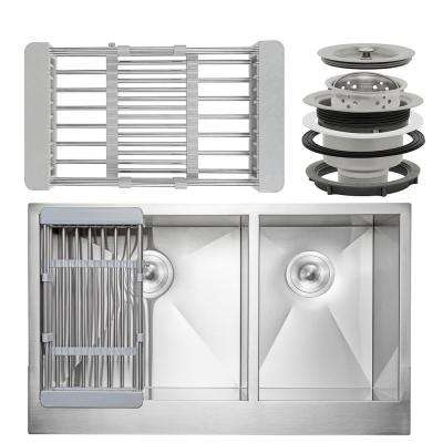 Handcrafted All-in-One Apron-Front Stainless Steel 33 in. x 20 in. x 9 in. Double Bowl Kitchen Sink with Tray and Drain