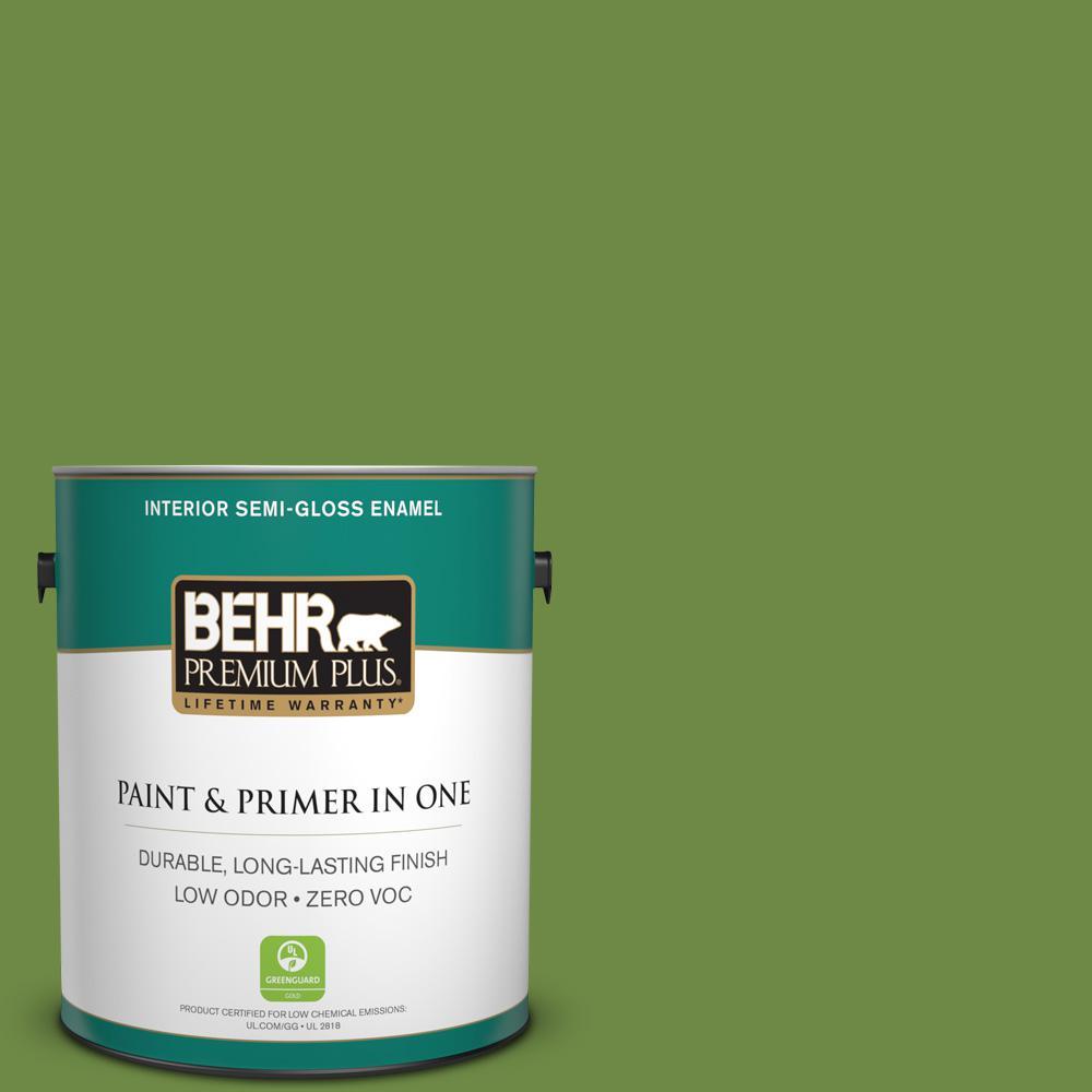 BEHR Premium Plus 1-gal. #S-H-420 Shamrock Zero VOC Semi-Gloss Enamel Interior Paint