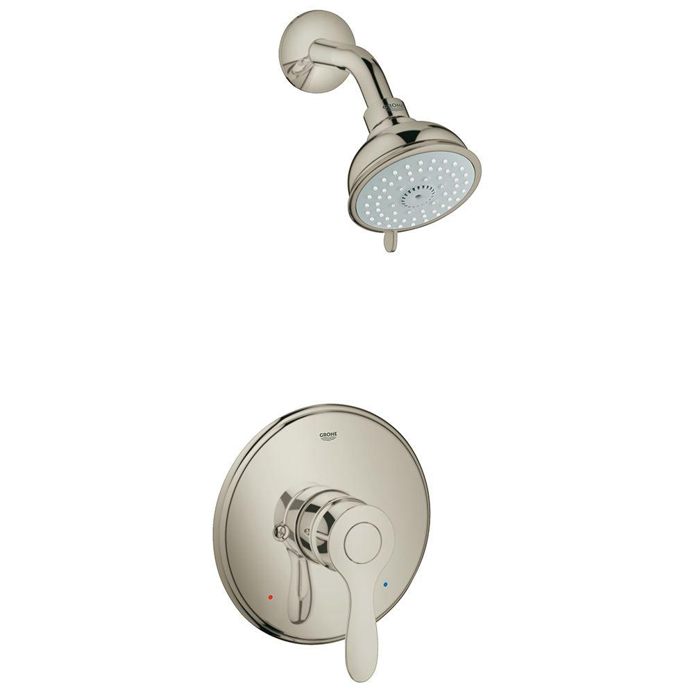 Grohe parkfield single handle 4 spray shower faucet in for Single handle brushed nickel bathroom faucet