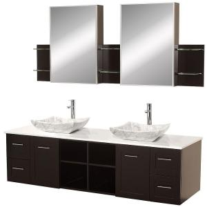 Wyndham Collection Avara 72 inch Vanity in Espresso with Double Basin Stone Vanity Top in White and Medicine Cabinets by Wyndham Collection