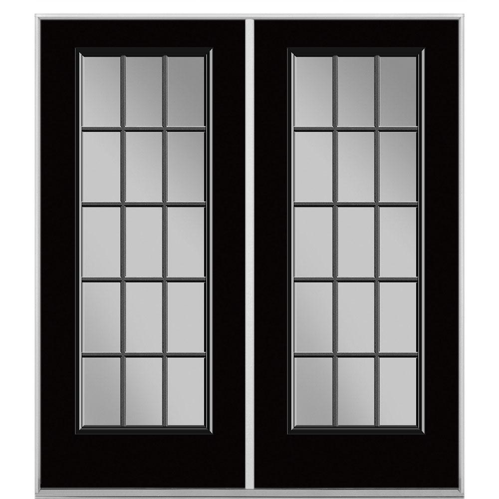 Masonite 60 in. x 80 in. Jet Black Steel Prehung Left-Hand Inswing 15-Lite Clear Glass Patio Door without Brickmold