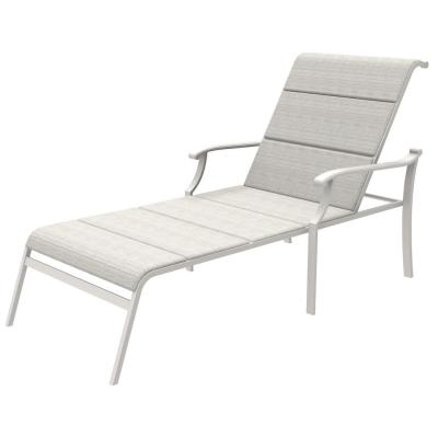 Riverbrook Shell White Padded Sling Aluminum Outdoor Patio Chaise Lounge Chair